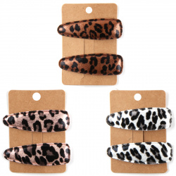 Украшение для волос Заколка-хлопушка Леопард 7см набор 2шт 202032 КОКОС ассорти 3 вида