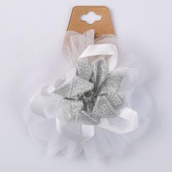 Украшение для волос Резинка Цветок 11см 200405 КОКОС белый