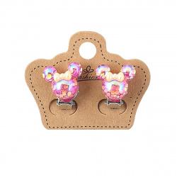 Серьги клипсы Мишка 1,7см 207068 КОКОС розовый