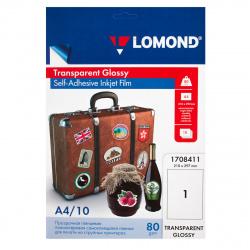 Пленка Lomond 80/A4/10 самокл. прозрач. для струйных  принт. 1708411