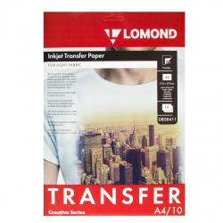 Бумага термотрансферная струйн. для светлых х/б тканей A4/10 Lomond 0808411