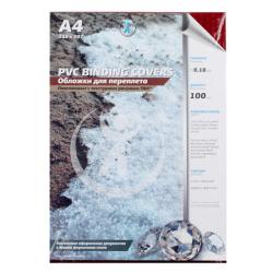 Обложки для переплета пластик прозрачный кристалл А4 0,18 мм (красный) (1/100)
