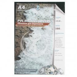 Обложки для переплета пластик прозрачный кристалл А4 0,18 мм (зеленый) (1/100)