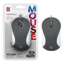 Манипулятор мышь Defender MS-970 серый+белый, 1000dpi USB