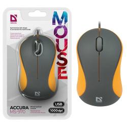 Манипулятор мышь Defender MS-970 серый+оранжевый, 1000dpi USB