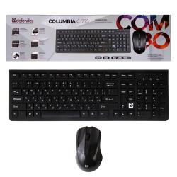 Клавиатура + мышь Defender Columbia C-775 RU черная беспроводные