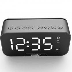 Портативная колонка SmartBuy SUPER SONIC, 5Вт, Bluetooth, MP3, FM, AUX, LEDчасы с двумя будильниками (SBS-490), черная