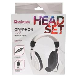 Наушники с микрофоном Defender HN-750, белые, 2 м