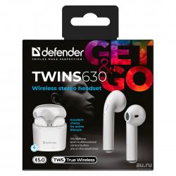 Наушники беспроводные с микрофоном вкладыши Defender TWS Bluetooth Twins 630 (63630)