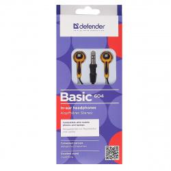 Наушники-вкладыши Defender Basic 604 черный/оранжевый
