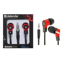 Наушники-вкладыши Defender Basic 619 черный/красный