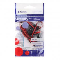 Наушники-вкладыши Defender Trendy-704 1,1 м, красный/черный