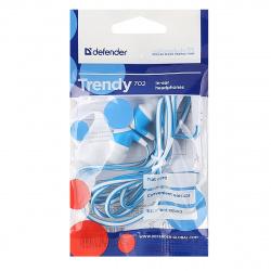 Наушники-вкладыши Defender Trendy-702 1,1 м, белый/голубой