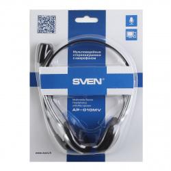 Наушники с микрофоном Sven AP-010MV, черный/серебро