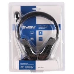 Наушники с микрофоном Sven AP-670MV кабель 2,5 м, черные (SV-0410670MV)