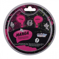 Наушники вкладыши SmartBuy Manga,ткан. оплетка кабеля,покр. динамиков soft touch, пурпур. (SBE-1020)