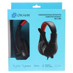 Наушники с микрофоном Oklick HS-L100 черный/красный 2м