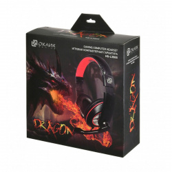 Наушники с микрофоном Oklick HS-L390G DRAGON черный/краснный 1,8м