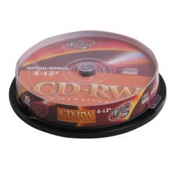 Лазер диск VS CD-RW 700МБ 4-12x  Cake box 10 шт.