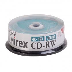 Лазер диск Mirex CD-RW 700МБ 12x Cake box 25 шт.