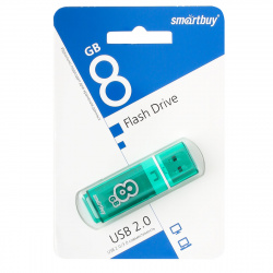 Флеш-память USB 8 Gb Smartbuy Glossy series Green