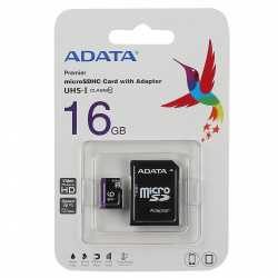 Карта памяти microSDHC Card (T-Flash) 16Gb класс10 UHS-1+ адаптер A-DATA