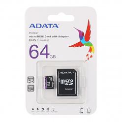 Карта памяти microSDXC 64GB Class 10 UHS-I U1 A-DATA Premier microSDXC (SD адаптер)