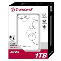 """Внешний жёсткий диск Transcend StoreJet 25A 1TB/2.5""""/USB 3.0 Противоударный, белый"""