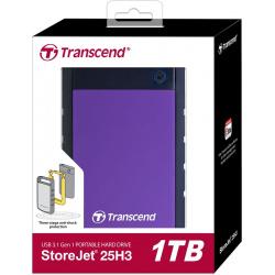 """Внешний жёсткий диск Transcend StoreJet 25H3P 1TB/2.5""""/USB 3.0 Противоударный, фиолетовый"""