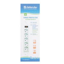 Сетевой фильтр 5 розеток Defender ES (3,0 м)