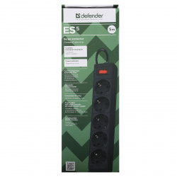 Сетевой фильтр 5 розеток Defender ES Black (5,0 м)
