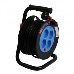 Удлинитель на катушке Smartbuy 4 розетки без заземления, с предохранителем ПВС 2*1,0 10А/2,2кВт (20 м) (SBE-10-4-20-N)