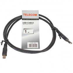 Кабель USB 2.0 A-mini B (5 pin) 1 м черный TELECOM <TC6911BK-1.0M>