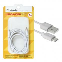 Кабель USB 2.0 A-micro B (m-m), 3 м, Defender, белый