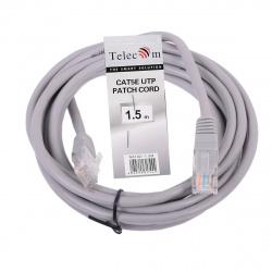 Кабель Patch Cord литой Telecom многожильный UTP кат.5е 1,5м серый <NA102--1.5M_317444>