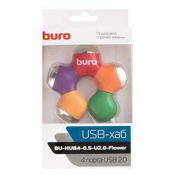 Концентратор USB 2.0 Buro Flower  (1001422)