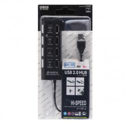 Концентратор USB-HUB Smartbuy 4 Port, с выключателями (SBHA-7204-B) черный