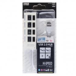 Концентратор USB-HUB Smartbuy 4 Port, с выключателями (SBHA-7204-W) белый