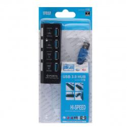 Концентратор USB-HUB Smartbuy 4 Port, с выключателями (SBHA-7304-B) черный USB 3.0