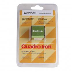 Концентратор USB 2,0 Defender QUADRO IRON - 4 порта, метал. корпус, скор. - до 480 Мбит/с, +кабель USB 2.0 A(M) - MiniB (M) - 1м