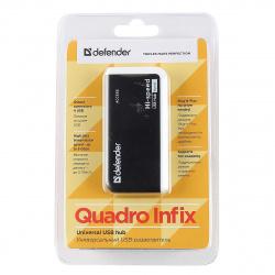 Концентратор USB 2,0 Defender QUADRO INFIX - 4 порта, скор. - до 480 Мбит/с, + кабель USB 2.0 A(M) - MiniB (M) - 1м