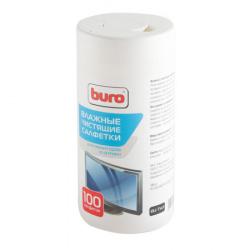 Туба с чистящими салфетками BURO для экранов и оптики BU-Tscrl (100 шт.) 817440