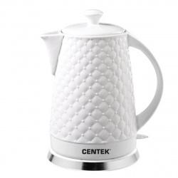 Чайник электрический Centek СТ-0061 White керамика, рельефный корпус  (2.0л./2000Вт/диск)