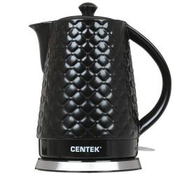 Чайник электрический Centek СТ-0061 Black керамика, рельефный корпус  (2.0л./2000Вт/диск)