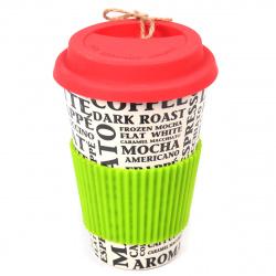 Стакан бамбук, крышка, держатьль Coffee КОКОС 207120