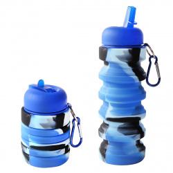 Бутылка силиконовая 600мл Squeezе складная КОКОС 207081/1 разноцветная