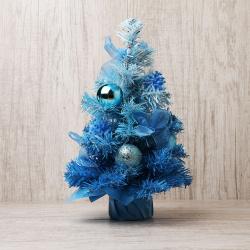 Елка 30см, украшенная, тип хвои ПВХ, цвет голубой, подставка пластик Гламур украшенная ЛЬДИНКА 170737