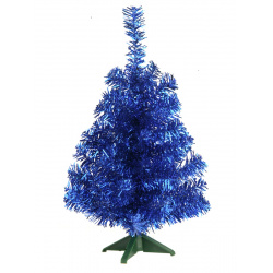 Ёлка 30см, тип хвои фольга, цвет синий, подставка пластик Morozco 0703