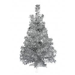 Ёлка 30см, тип хвои фольга, цвет серебро, подставка пластик Morozco 0703