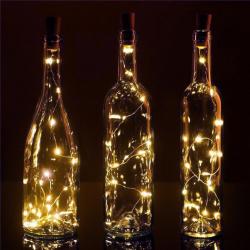 Гирлянда светодиодная нить 20л 2м пробка д/бутылки на батарейках постоянное свечение ЛЬДИНКА 200242 теплый белый